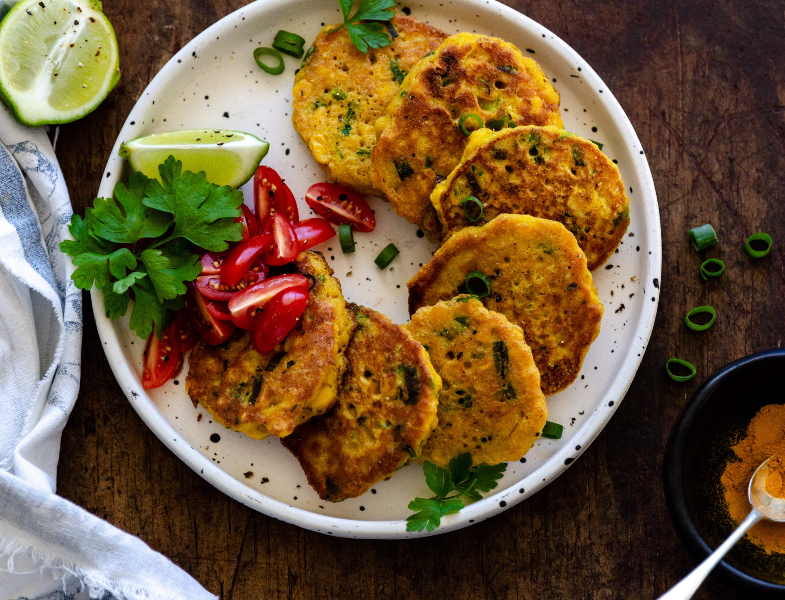 Turmeric Spring Onion Corn Fritters