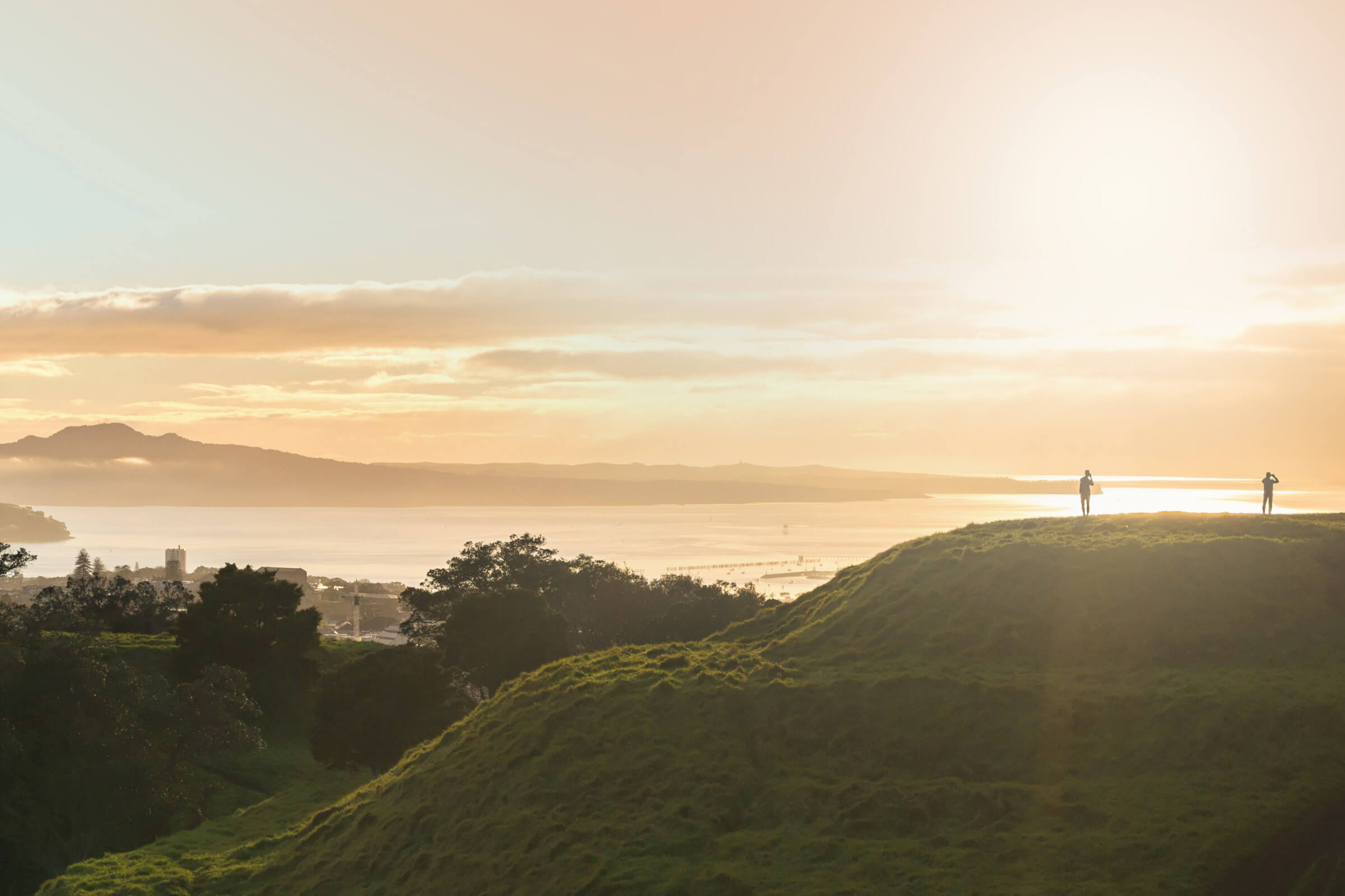 Sunrise over Mt Eden looking through to Rangitoto Island